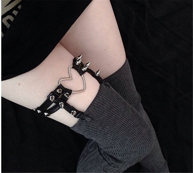Single Leg Rivet Garter Punk Gothic Faux Leather Elasticated