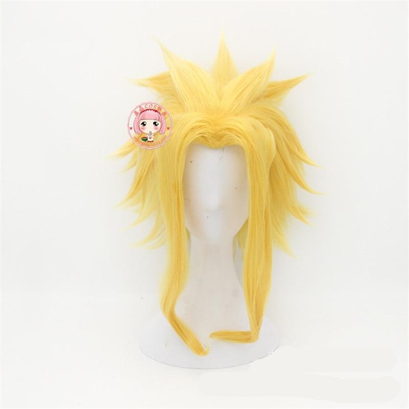 Anilnc My Hero Academia Boku no Hiro Akademia All Might Short Golden Synthetic Heat Resistant Cosplay Hair Wig+One Cap