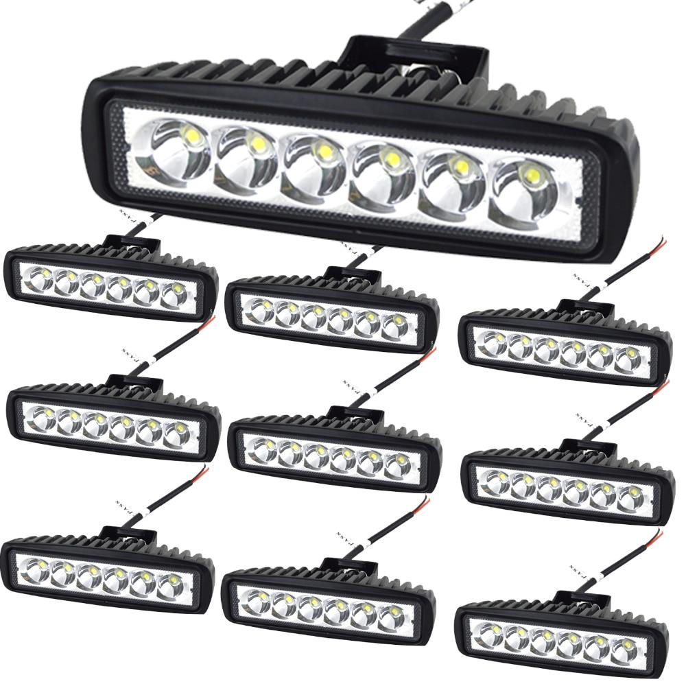 10PCS 6 Inch 18w DRL LED Work Light 10-30V 4WD 12v For Off Road Truck Bus Boat Fog Light Daylight Auto Car Led Light Beam