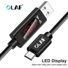 OLAF Micro USB Data Charger Cables LED Digital Voltage and Current Display 3A Fast Charging Android USB Cable For Samsung Xiaomi digital lcd display micro usb data charging voltage current cable cord for android phone