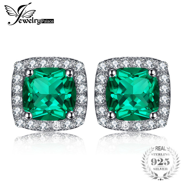 JewelryPalace Cushion 2.1ct Created Emerald Halo Stud Earrings Solid 925 Sterlin