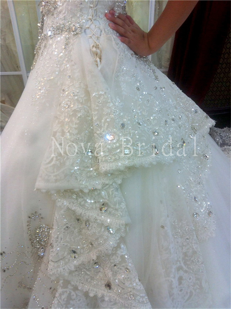 Luxury Wedding Dress 2015 Heavy Crystals Beads Lace Appliques ...