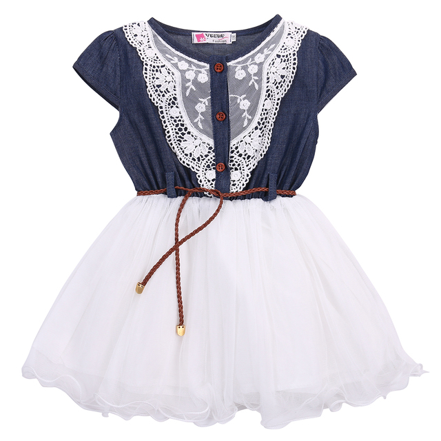 Robes de princesse en Denim pour filles | Jolies robes cousues en Tulle, pour bébés enfants de 1 à 6 ans