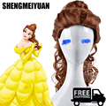 SHENGMEIYUAN Cosplay wig Beauty And The Beast Cartoon Princess Belle wig Synthetic Wig Auburn Brown Cosplay Anime Wig Ponytail