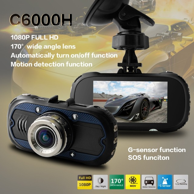 """C6000H Car DVR 100% Original Full HD 1080P 30FPS 2.7"""" LCD 170 Degree Wide View Angle Car DVR Recorder with G-sensor+WDR H.264"""