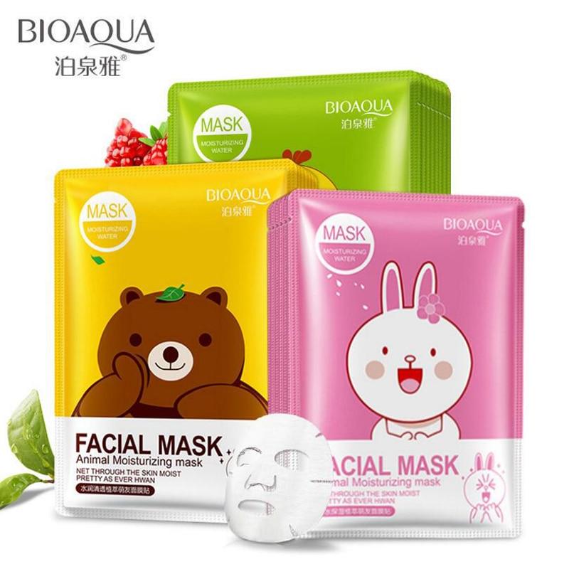 BIOAQUA Animal Dos Desenhos Animados Rosto Hidratante Máscara Facial Hidratante Fresco Anti-Acne Controle de Óleo Extrato de Planta 3 Cores