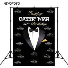 Glücklich 50th Geburtstag Hintergrund für Männer Fliege Smoking Schwarz Hintergrund für Fotografie Großvater Vater Gentleman Fünfzig Bday