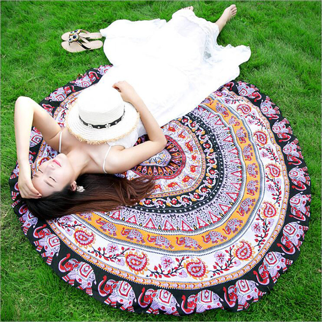 150x150cm Tassel summer beach towel sunbath round blanket yoga mat sunscreen shawl beach mat
