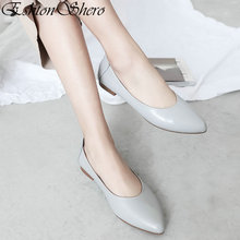 EshtonShero Classic Womens Flats Shoes Woman Flat Heels Leather+PU Pointed Toe Gray Ladies Wedding Party Clogs Size 3-12