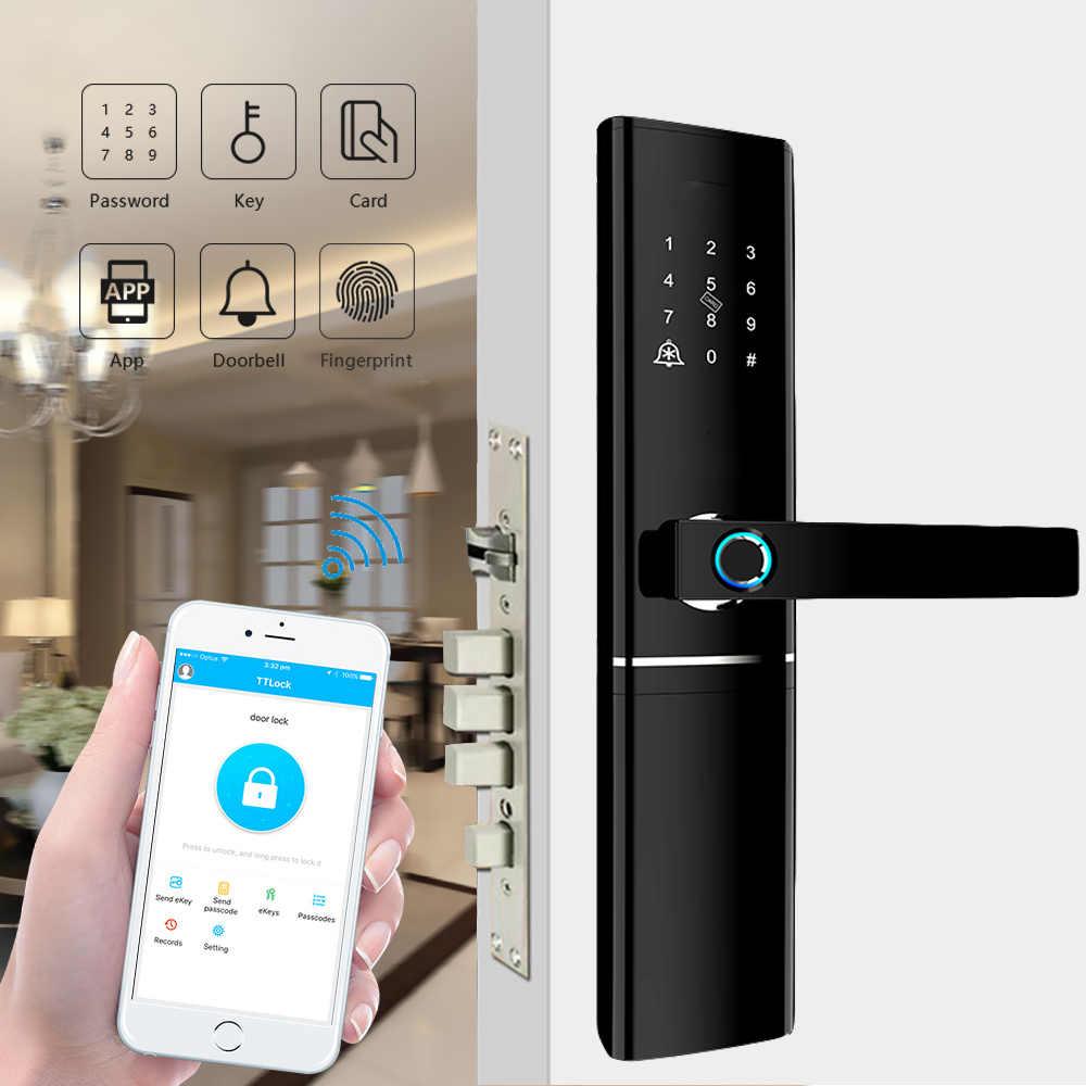 ลายนิ้วมือ Biometric ล็อคอิเล็กทรอนิกส์ประตูล็อคสมาร์ทบลูทูธ app WiFi รหัสผ่าน IC Card Key Knob ล็อค