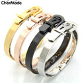 2016 New Fashion Brand Gold Plated Adjustable Belt Buckle Bangles Bracelets For Women Men Stainless Steel Luxury Jewelry B210