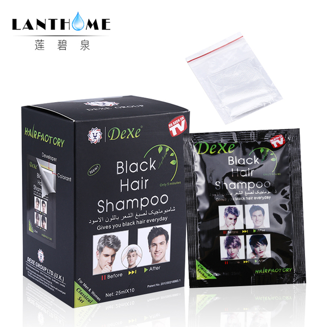 New Lanthome De xe black hair shampoo in black hair color Only 5minutes Fast Hair Dye Permanent Coloring Cream Building Fibers