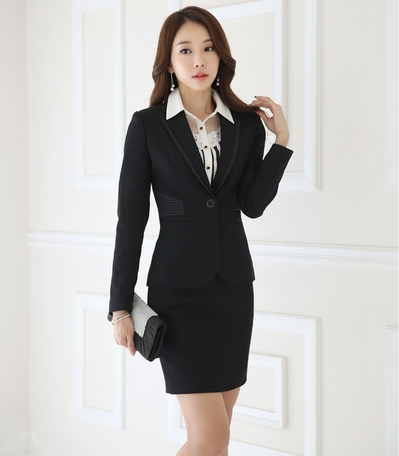 Formal OL Styles Autumn Winter Female Business Suits With Jackets And Skirt Professional Ladies Office Blazers Outfits Set