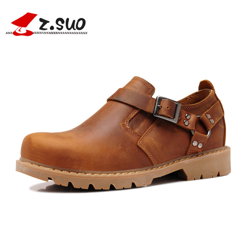 ФОТО Z.Suo 2017 Hot Sale Mens Casual Leather Shoes Man Head Layer Cow Leather Shoe British Classic Light Tooling Martin Shoes ZS337Y