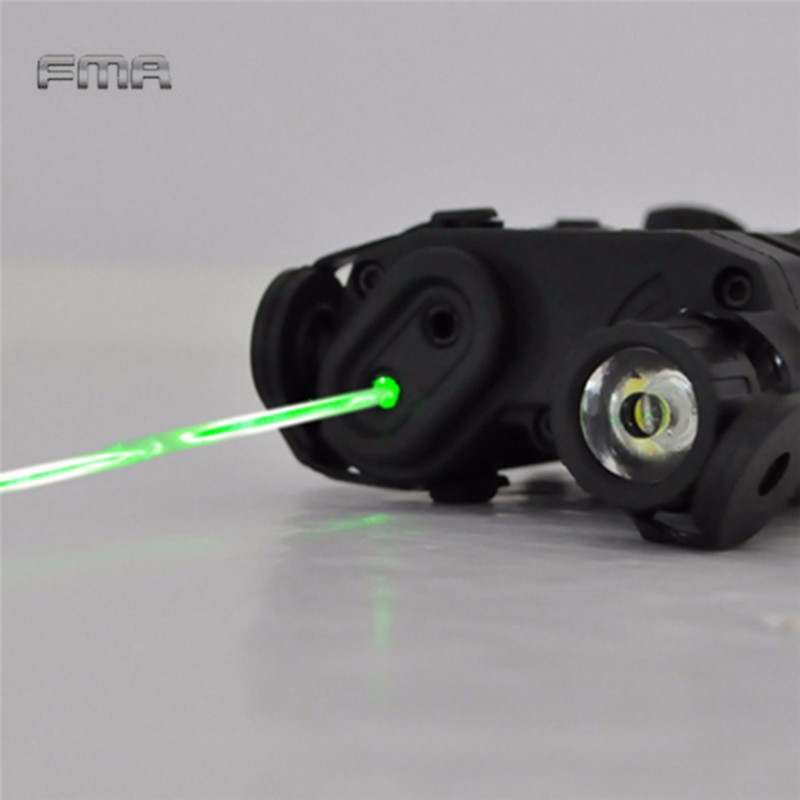 FHNYQTNS Black FMA PEQ-15 Green Dot Laser with White LED Flashlight and IR Illuminator