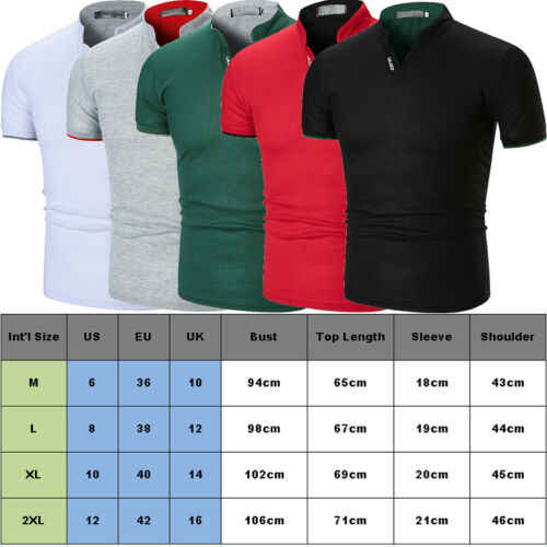 Mens Slim Fit Simple Short Sleeve Stand Collar Shirts Casual Summer Shirts Top Muscle Tee Shirt