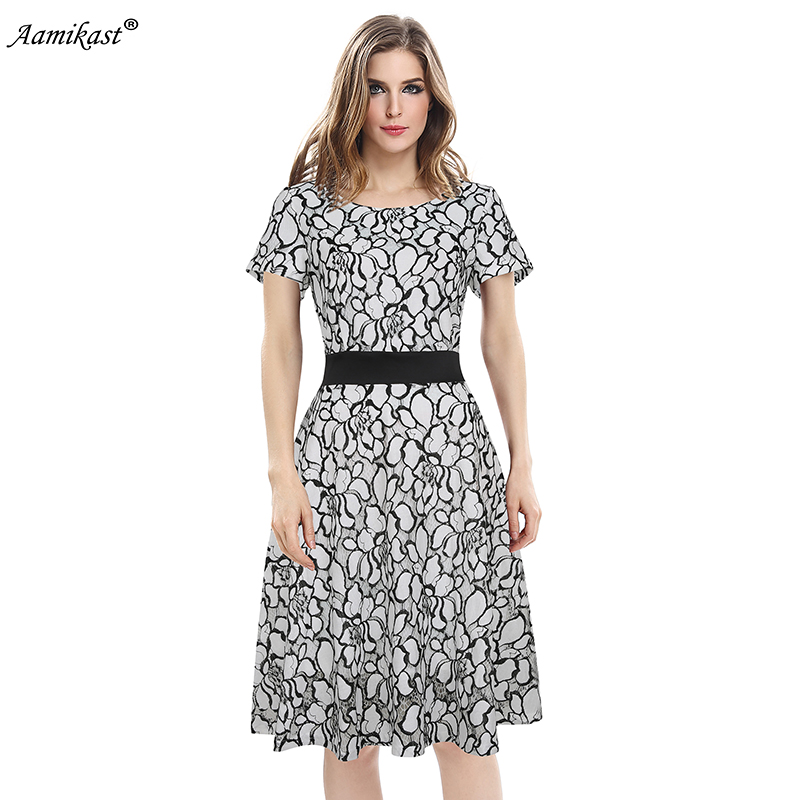 AAMIKAST O neck Short Sleeve Elegant Vintage Lace Dresses Bandage Fit And  Flare Patchwork Party Wear Work Casual Office Dresses-in Dresses from  Women s ... 40c19a4263c2