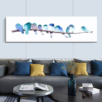 atercolor Animal Birds Poster Minimalist Art Canvas Painting Wall Picture Long Banner Print Modern Home Room Decoration