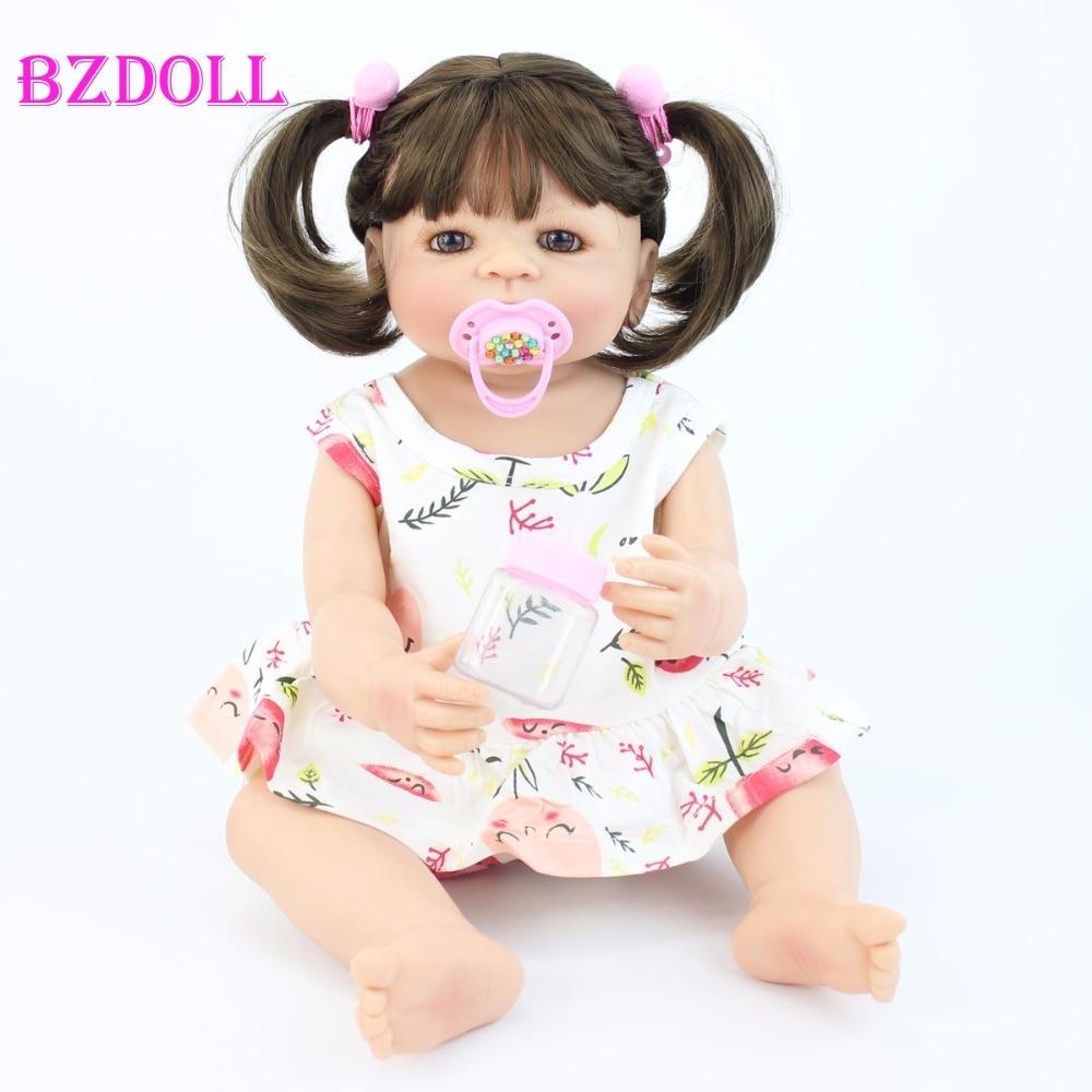 55cm Exclusive Full Silicone Reborn Baby Doll Toy Girl Boneca Vinyl Newborn Princess Toddler Babies Bebe