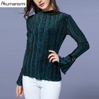 Spring Autumn Striped Blouse Blace Green Turtleneck Flare Full Sleeve Tops Women S Clothes Overclothes Plus