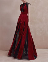 New Arrival Autumn 2018 Amazing Dark Red Velvet and Black Lace Long Dress Party Dress Princess Dress 180921XB03
