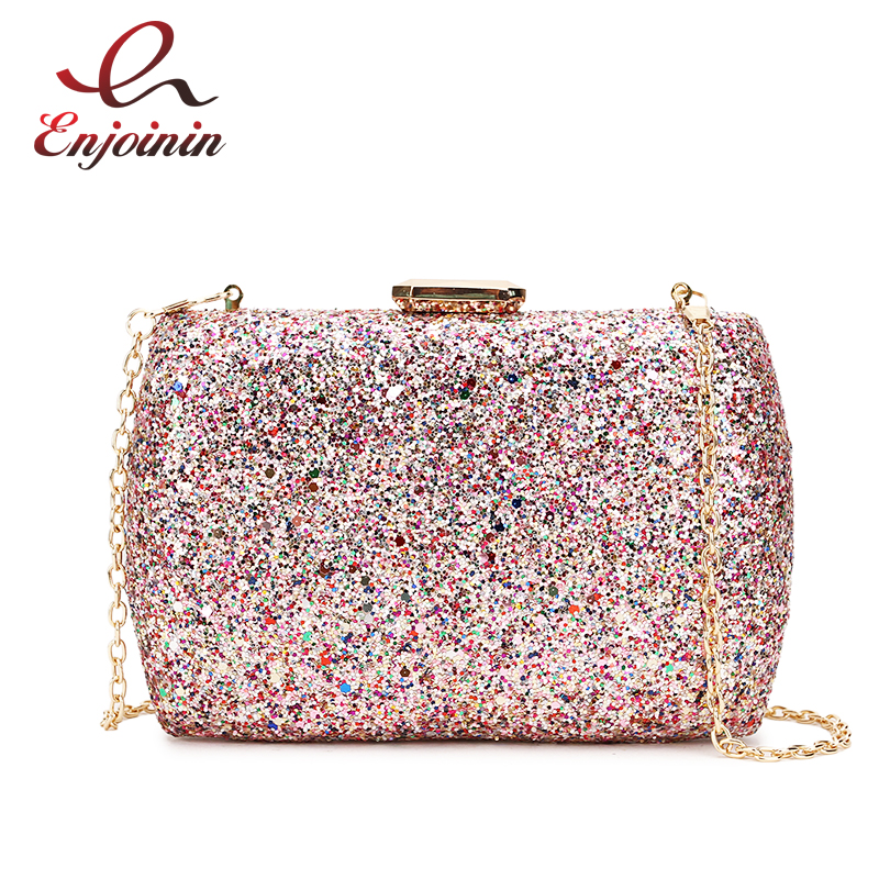 Luxury Sequins Fashion Party Wedding Clutch Bag Evening Bag Ladies Mini Messenger Bag For Women Flap Shoulder Bag Handbag Purse