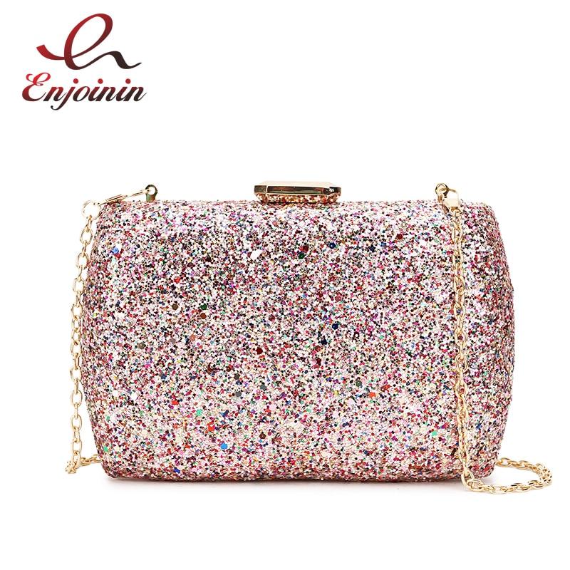 Luxury Sequins Party  Evening Clutch Bag Ladies Mini Crossbody Bag for Women Purses and Handbags Shoulder Chain Bag 2021 Fashion