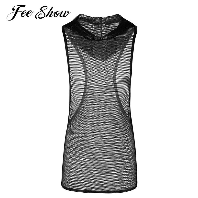 Black Men Fishnet See-through Stretchy Hooded Vest Tank Top Clubwear Undershirt Sleeveless Mesh Openwork Hooded Exotic Tank Tops