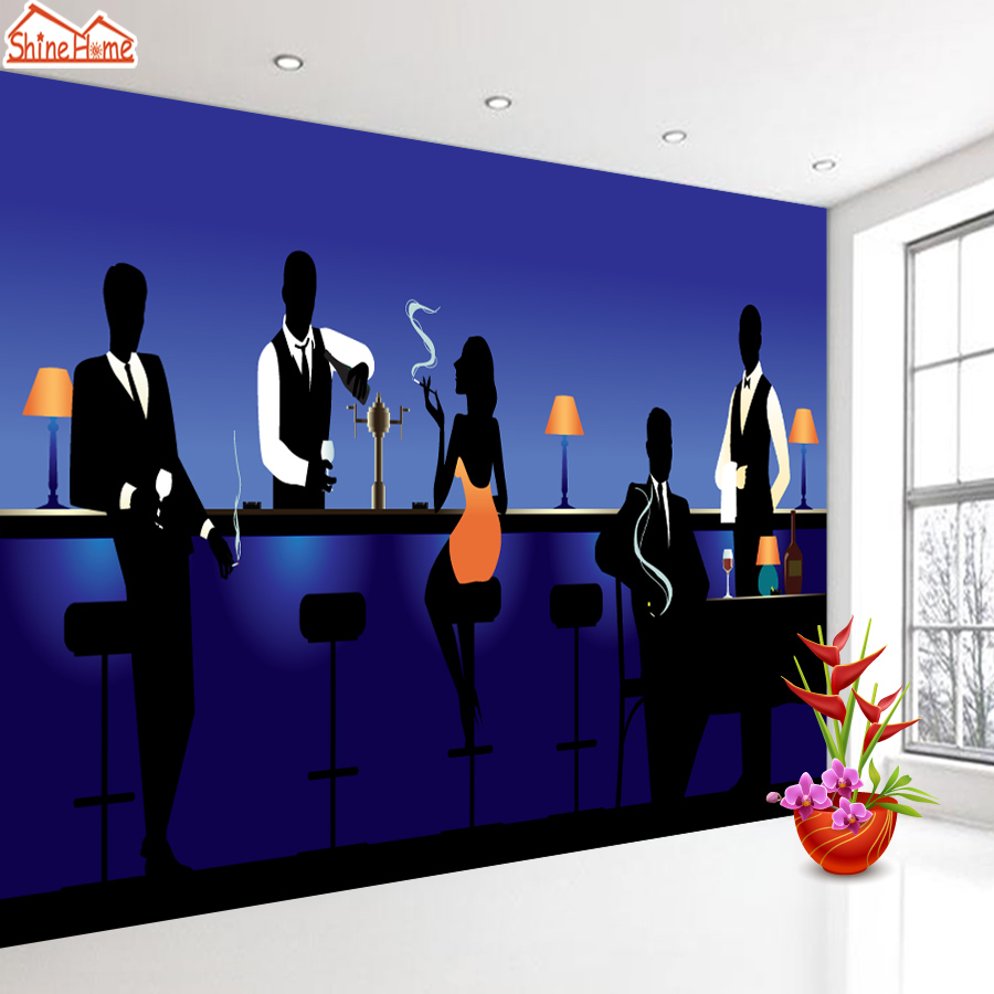 ShineHome-FIgure Silhouette Cafe Bar Background Wallpaper Murals for 3 d Rooms 3d Walls Wallpapers for Rolls Wall Paper Roll шорты roxy шорты