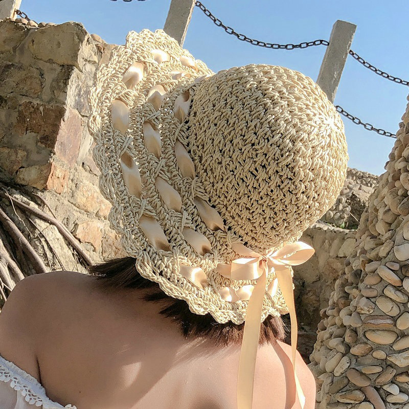 2019 new Summer Sun Hats For Women Lace Cotton soft Big Fashion Design Women Beach Sun Hat Foldable Brimmed bow Straw Hat in Women 39 s Sun Hats from Apparel Accessories