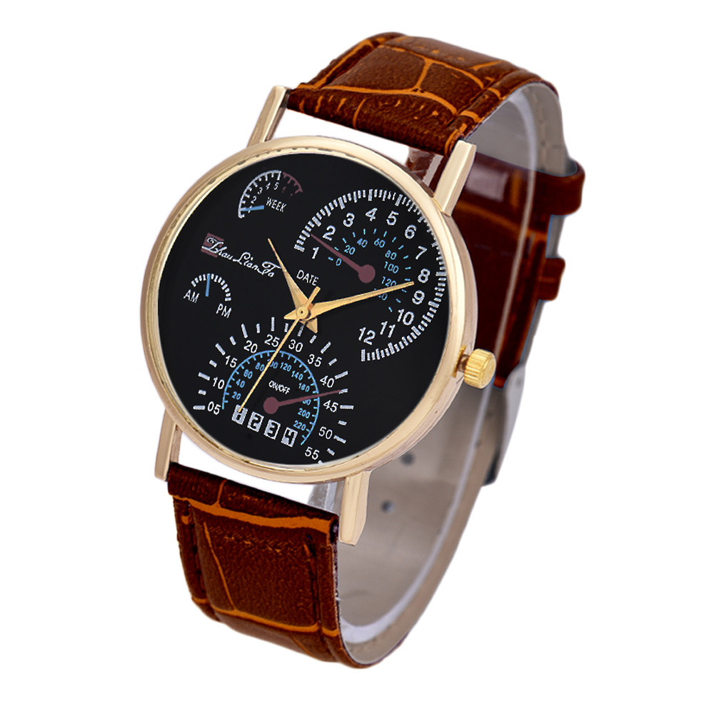 mens watches fashion montre homme leather band analog. Black Bedroom Furniture Sets. Home Design Ideas