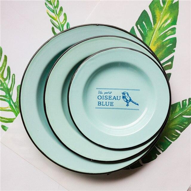 ZHENWEN-(3 pieces/set)Bird Pattern Enamel Plates Dish & ZHENWEN (3 pieces/set)Bird Pattern Enamel Plates Dish -in Dishes ...