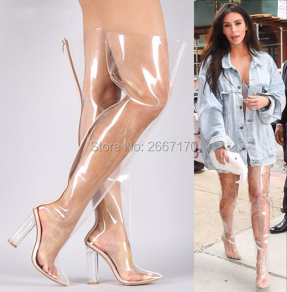 75400c9adf7 Botte Femme 2018 Pointed Toe Clear Block Heel Transparent Thigh High Boots  Perspex Jelly Shoes Women Over The Knee Rain Booties