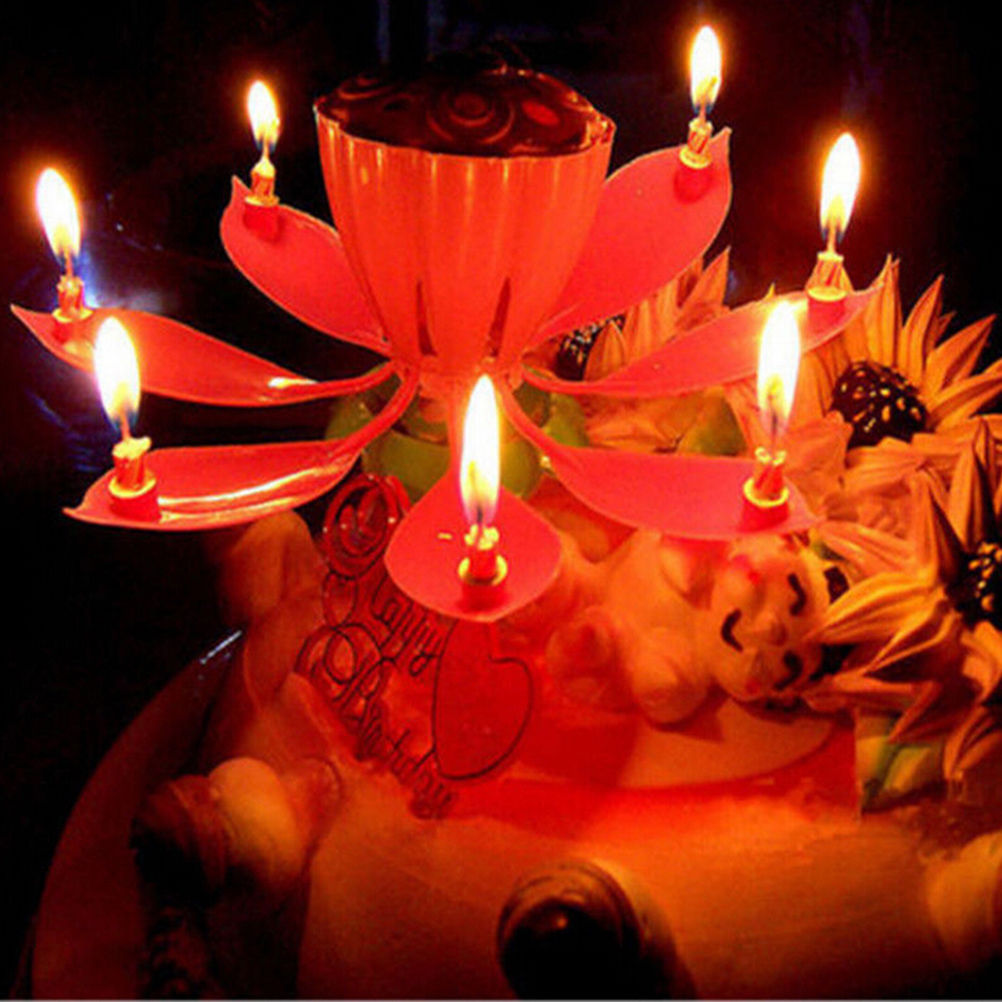 Musical Lotus Flower Flame Lights For Happy Birthday Cake Party Gift Rotation Candles Lamp Surprise Decoration In From Home Garden On