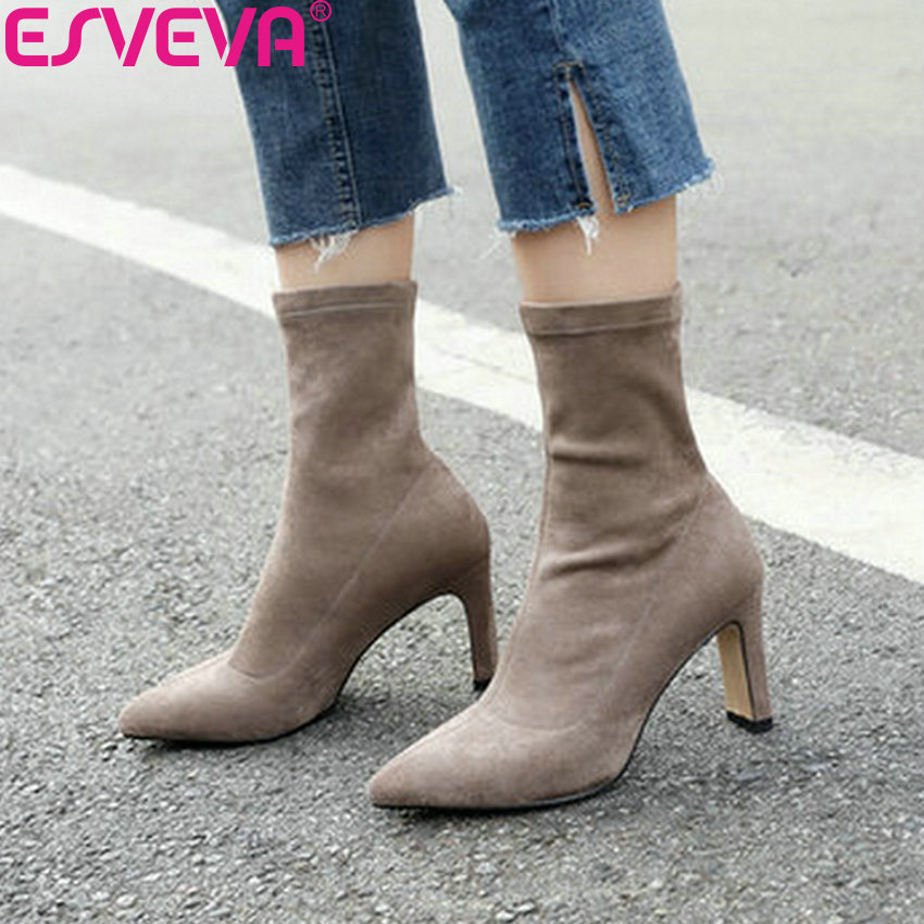 ESVEVA 2019 Women Shoes Slip on Elegant Autumn Shoes Ankle Boots Square High Heels Woman Pointed Toe Chelsea Boots Size 34-43
