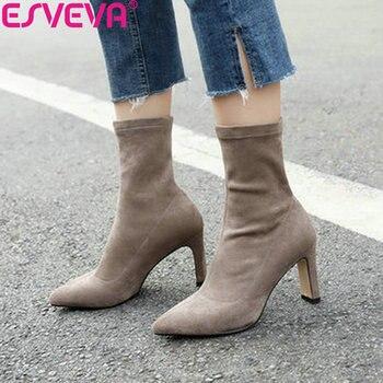 9effc359 ESVEVA 2019 zapatos de mujer resbalón en la elegante zapatos de otoño  zapatos de tobillo botas