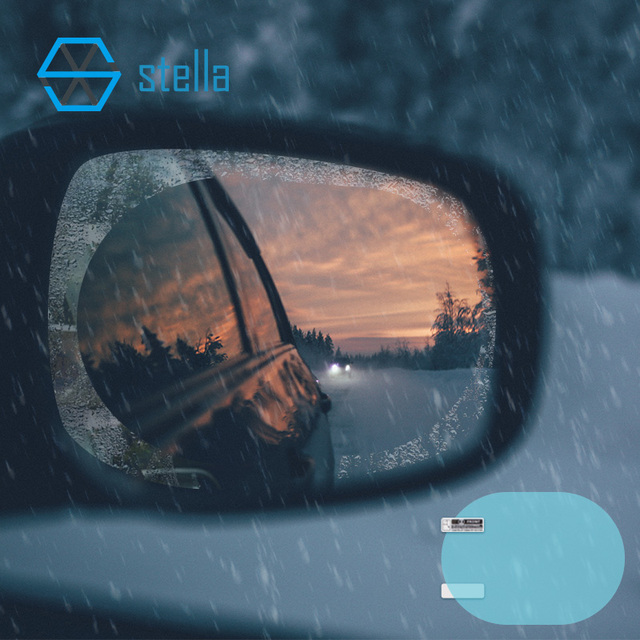 2Pcs car rearview mirror waterproof membrane transparent Clear Film Sticker/film for cars see more clearly on rainy days safer