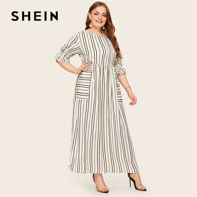 SHEIN Plus Size Flounce Sleeve Patch Pocket Striped Dress 2019 Women Spring Summer Casual Half Sleeve High Waist Maxi Dresses 1