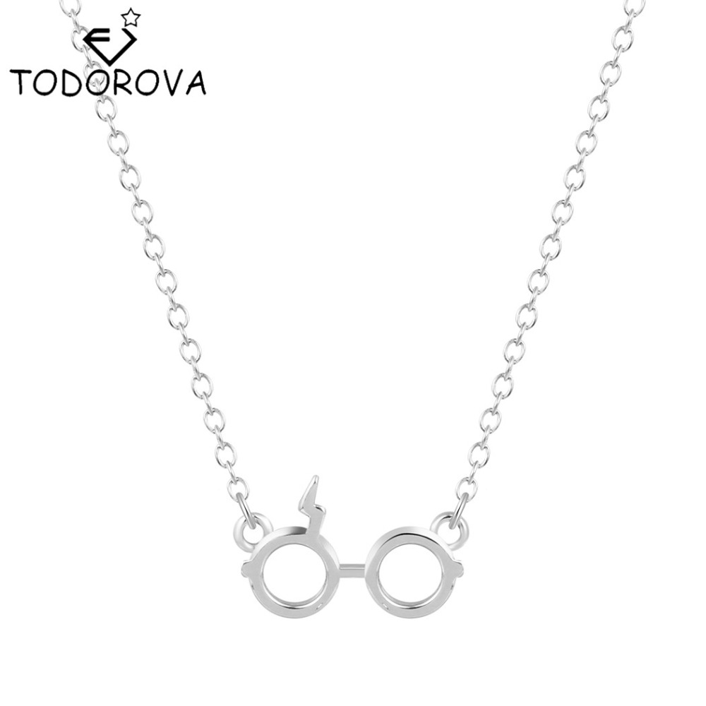 Todorova 10pcs Trendy European American Jewelry Movie Lightning Scar Glasses Pendant Necklace Z Words Necklace for