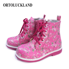 Buy Beautiful baby girls shoes floral pu leather orthopedic shoes for kids toddler girls boots casual shoes with lace up zipper directly from merchant!