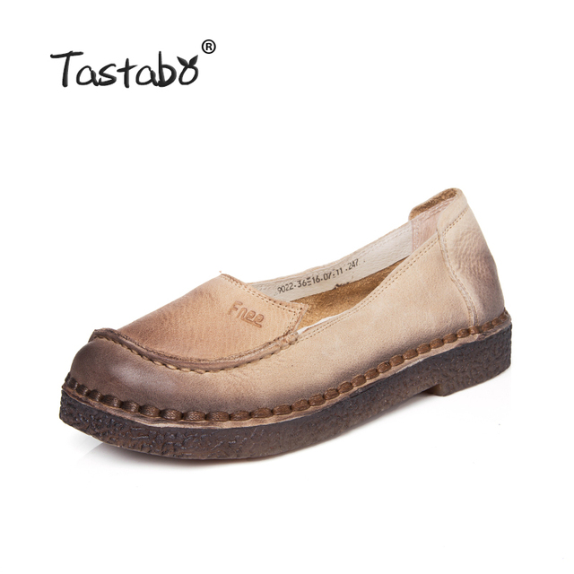 Tastabo Shoes Woman 2017 Autumn    Cow Muscle Slip On Loafers Solid Genuine Leather Female Casual Shoes Ballet Flats
