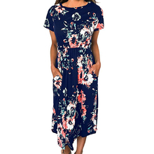 Floral Print 2018 Long Dress Women Summer Dress Short Sleeve Party Boho Casual A-line  Pockets Sundress Plus Size GV785