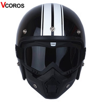 VCOROS 3/4 Open face vintage motorcycle helmet with detachable mask men scooter retro harley moto helmets for vespa motorcycle
