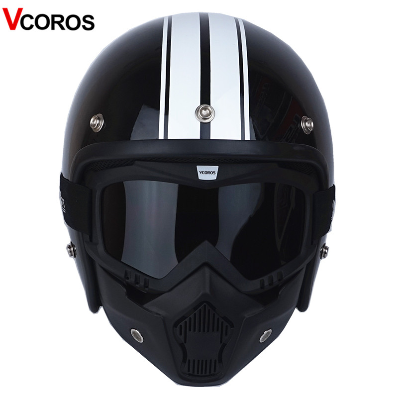 VCOROS 3/4 Open face vintage motorcycle helmet with detachable mask men scooter retro harley moto helmets for vespa motorcycle lexin 2pcs max2 motorcycle bluetooth helmet intercommunicador wireless bt moto waterproof interphone intercom headsets