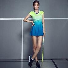 Женское Спортивное платье для тенниса и бадминтона, быстросохнущее Спортивное платье для тенниса с защитными шортами, сетчатая линия