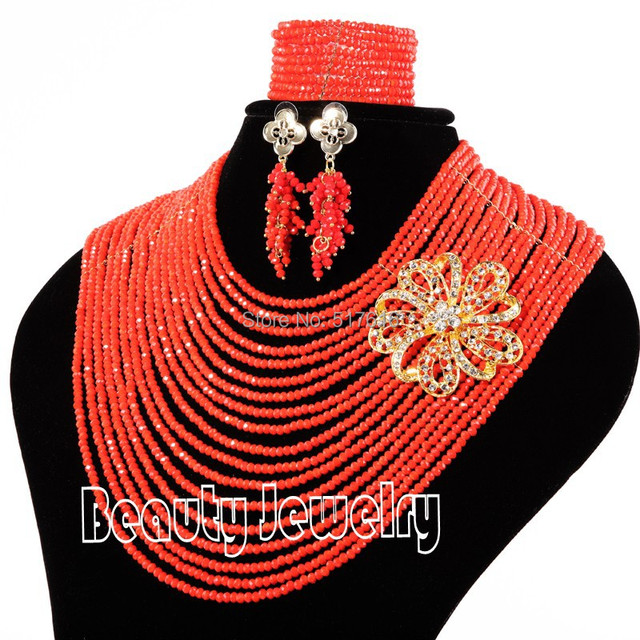 Marvelous 18 Rows Nigerian Wedding African Beads Jewelry Set Red Crystal Beads Jewelry Set Free Shipping SET3