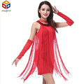Shining round neck Sequined slim waist and package hip stage dance dress full tassel nightclub costumes fringed dress