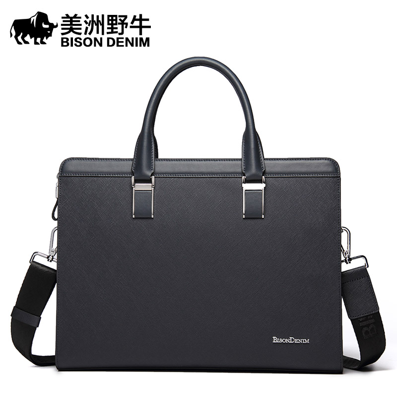 BISON DENIM Handbag Men Shoulder Bags Brand Genuine Leather Briefcases Tote Bag Business Men's Messenger Bag Casual Travel Bag brand bison denim handbag men genuine leather shoulder bags business travel cowhide crossbody bag tote bag men s messenger bag