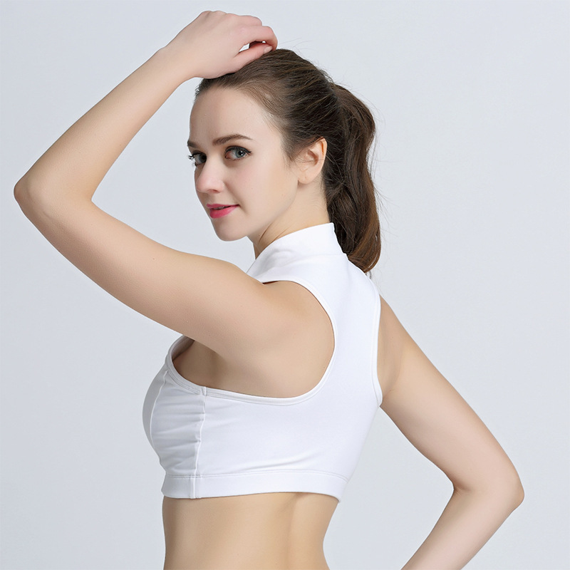 3cad296cacb1f Push Up Padded Crop Top Bras Women Sports Bras Turtleneck Front Zipper Gym Tank  Top White Black Sports Running Vest WB020-in Sports Bras from Sports ...