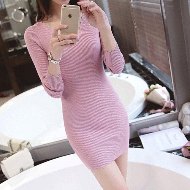 2016 new Korean New Winter garment fashion color V slim slim neck long sleeve knit shirt